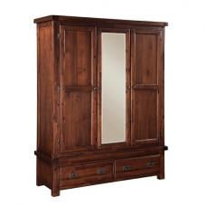 Alexis Wooden Wardrobe In Dark Acacia With 3 Doors And 2 Drawers