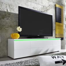 Alexis LCD TV Stand In White With Gloss Fronts And LED