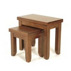 Alexis Wooden Nest Of 2 Tables In Dark Acacia Wood