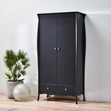 Alice Wooden Wardrobe In Black With 2 Doors And 1 Drawer