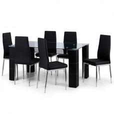 Alina Clear Glass Top Dining Table Set With 6 Chairs