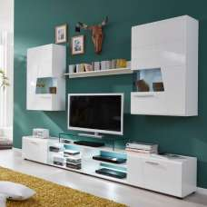 Alison Living Room Set In White With High Gloss Fronts And LED