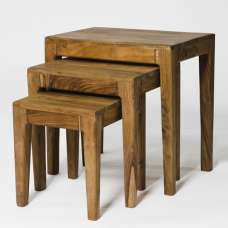 Allegro Wooden 3 Nest Of Tables In Acacia Wood