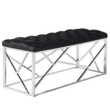 Allen Bench In Black Velvet With Polished Stainless Steel Base