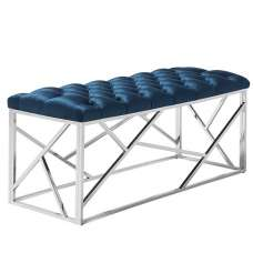 Allen Bench In Blue Velvet With Polished Stainless Steel Base