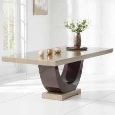 Allie Marble Large Dining Table In Light And Dark Brown