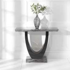 Allie Marble Console Table Rectangular In Dark Grey And Black