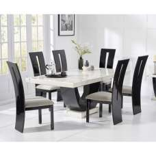 Allie Marble Dining Table In White Black With 6 Ophelia Chairs