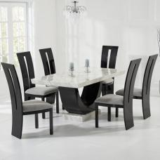 Allie Marble Dining Table In White Black With 4 Ophelia Chairs