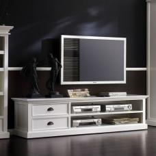 Allthorp Solid Wood TV Stand Large In White With 2 Drawers