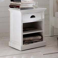 Allthorp Solid Wood Bedside Table In White With 1 Drawer