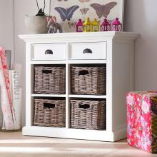 Allthorp Solid Wood Compact Sideboard In White With 2 Drawers