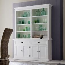 Allthorp Solid Wood Display Cabinet In White With 4 Doors