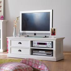 Allthorp Solid Wood TV Stand In White With 2 Drawers