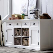 Allthorp Solid Wood Sideboard In White With 2 Doors 4 Baskets