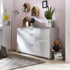 Almera Sideboard In Concrete Optics And White High Gloss