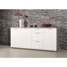 Almera Large Sideboard In Noble Beech And White High Gloss Front