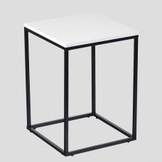 Alpen Side Table In White High Gloss With Black Metal Frame