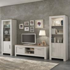 Alpina Living Room Set In Oak With Distressed Effect And Lights