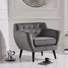 Alvey Modern Accent Chair In Grey Velvet With Dark Legs