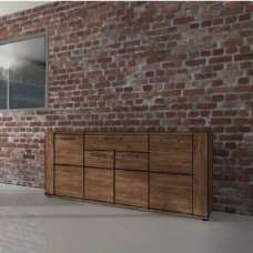 Alvin Wooden Sideboard In Acacia Dark With 4 Doors