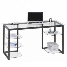 Alyssa Glass Computer Desk In Clear With Anthracite Metal Frame