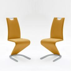 Amado Dining Chair In Curry Faux Leather In A Pair
