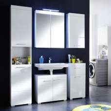 Amanda Bathroom Set In White With High Gloss Fronts And LED