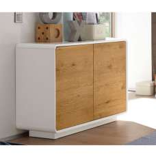 Amara Wooden Compact Sideboard In Knotty Oak And Matt White