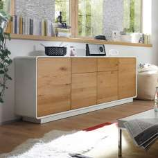 Amara Wooden Sideboard Large In Knotty Oak And Matt White