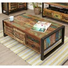 London Urban Chic Wooden Storage Coffee Table With 4 Doors