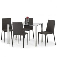 Amelia Glass Dining Table In Clear With 4 Fredo Grey Chairs