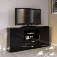 Amerax TV Sideboard In Black High Gloss With 2 Doors