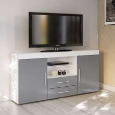 Amerax TV Sideboard In White And Grey High Gloss With 2 Doors