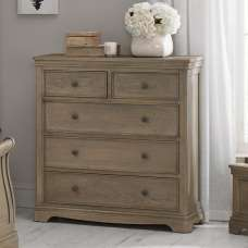 Ametis Chest Of Drawers In Grey Washed Oak With 5 Drawers