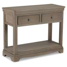 Ametis Wooden Console Table In Grey Washed Oak With 2 Drawers