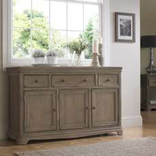 Ametis Wooden Sideboard In Grey Washed Oak With 3 Doors