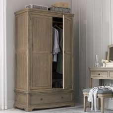 Ametis Wardrobe In Grey Washed Oak With 2 Doors And 1 Drawer