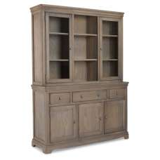 Ametis Large Display Cabinet In Grey Washed Oak With 5 Doors