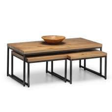 Amilia Wooden Set Of Coffee Tables In Solid Oak And Metal Legs