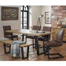 Amilia Dining Table In Solid Oak With Bench And 4 Chairs