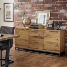 Amilia Wooden Sideboard In Solid Oak With 2 Doors And 3 Drawers