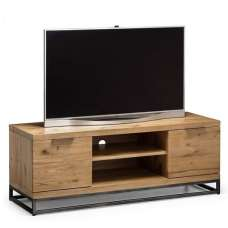 Amilia Wooden TV Stand In Solid Oak And Metal Legs