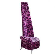 Amily Right Handed Potenza Chair In Purple Velvet Tiger Print