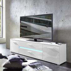 Amy Modern TV Stand In White High Gloss Fronts With LED