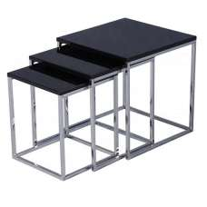Andi Nest Of Tables In Black Gloss With Chrome Legs