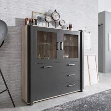 Andora Wooden Highboard In Sorrento Oak And Anthracite