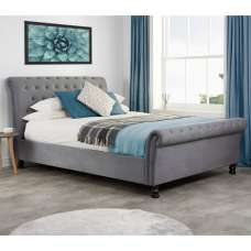 Andriana Fabric Super King Size Bed In Grey Velvet
