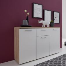 Anette Wooden Sideboard In White And Oak With And 3 Doors