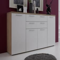 Anette Wooden Sideboard In White And Oak With And 4 Doors